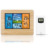 Wireless Weather Station, Indoor Outdoor Thermometer Hygrometer, Digital Weather Forecast Station with Large Color LCD, Remote Sensor, Temperature Humidity Monitor/Alerts, Alarm Clock