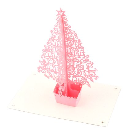 Festival Paper 3D Handmade Christmas Tree Design Ornament Greeting Card Pink - image 3 of 3