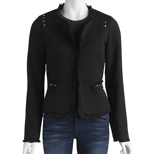 Women's Plus-Size Studded Classic Boucle Jacket