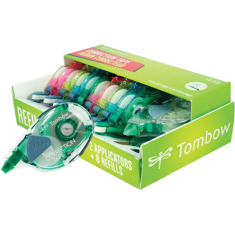 Tombow Mono Refillable Correction Tape Applicators + Refills, Assorted Colors, 10pk