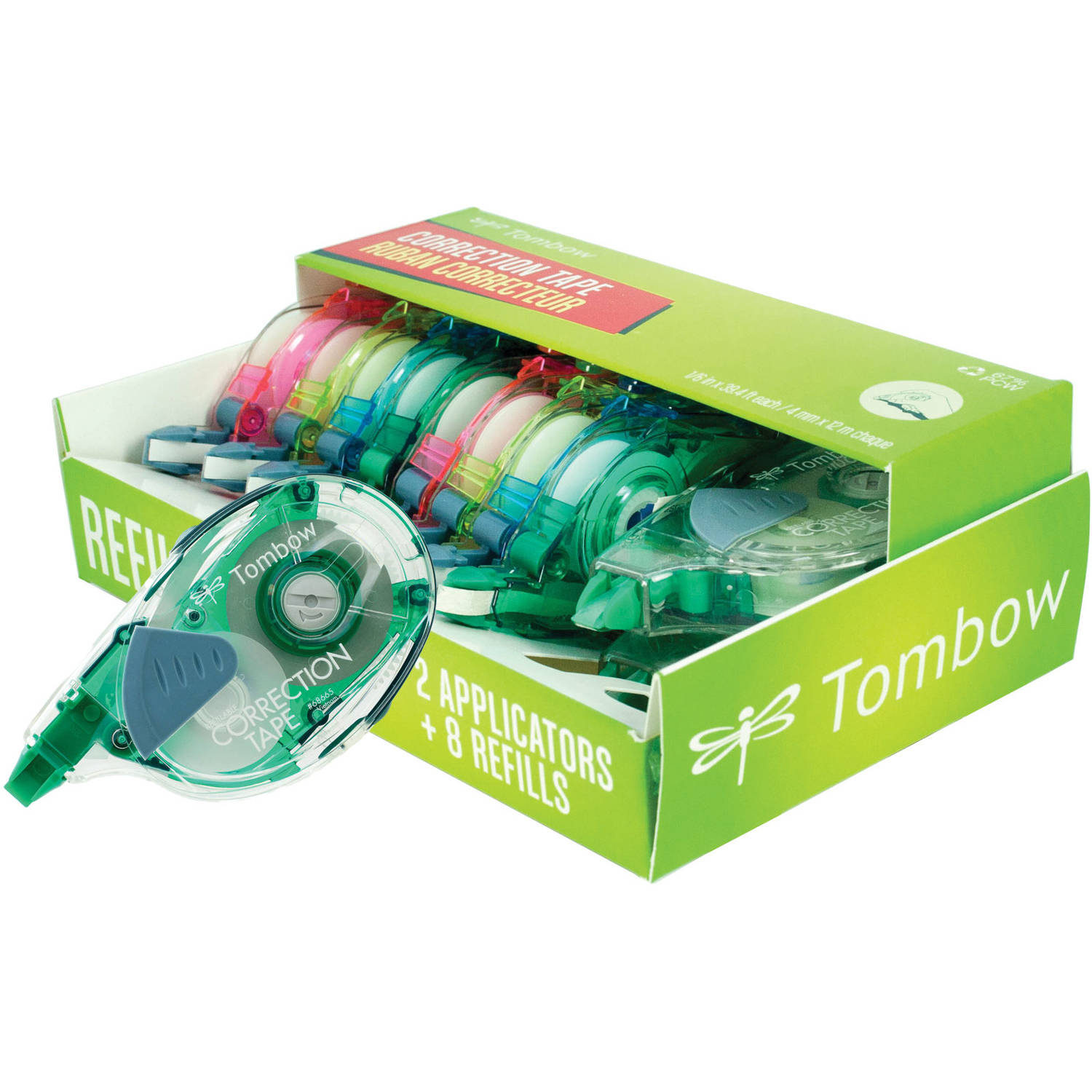 Tombow Mono Refillable Correction Tape Applicators + Refills, Assorted Colors, 10pk