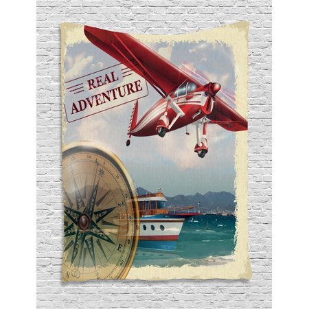 Adventure Tapestry, Real Adventure Quote with Coastline and a Red Airplane Journey Travel Themed Art, Wall Hanging for Bedroom Living Room Dorm Decor, Multicolor, by Ambesonne