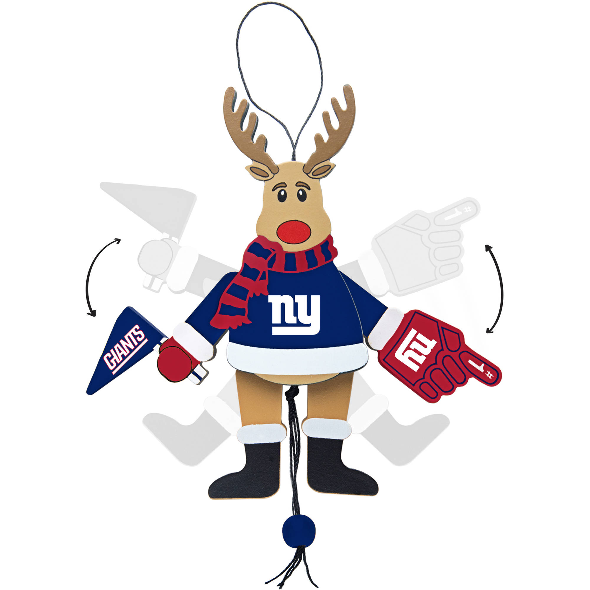 Topperscot by Boelter Brands NFL Wooden Cheering Reindeer Ornament, New York Giants