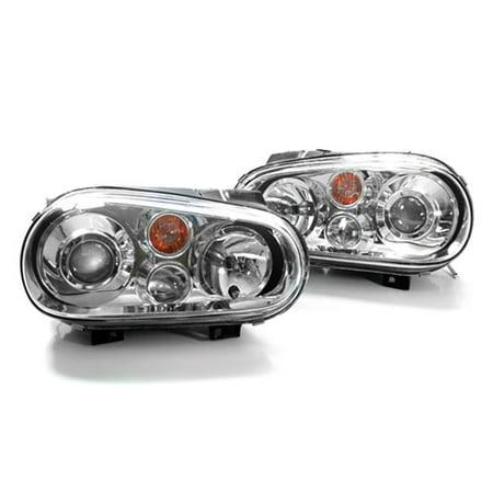 Headlight Lens Glass (99-05 VW GOLF MK4 E-CODE CHROME PROJECTOR GLASS LENS HEADLIGHTS W/ FOGS )