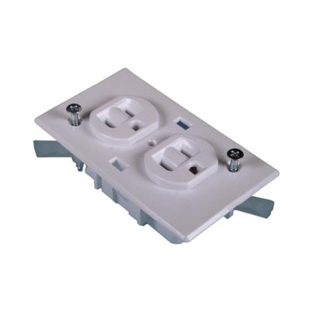 United States Hdwe. White Dplx Receptacle E-162C (Plaza Receptacle)