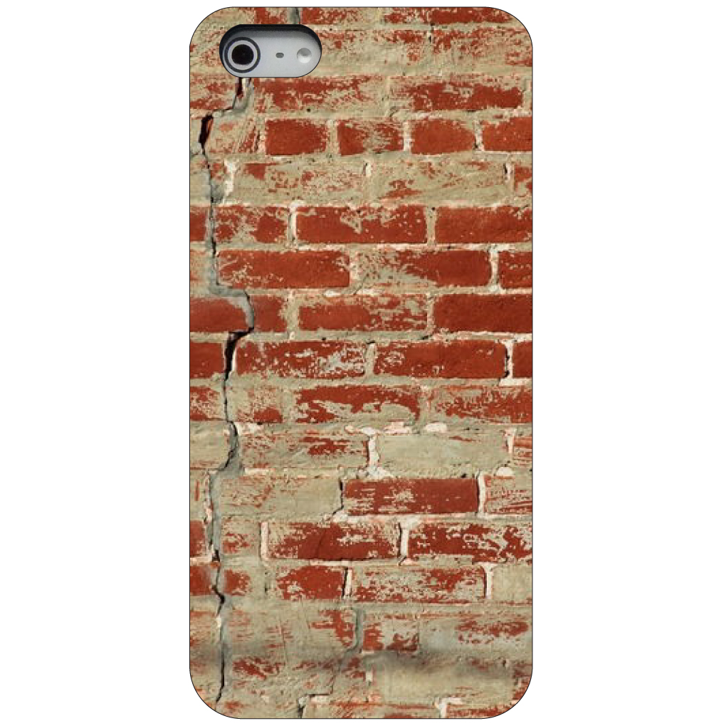 CUSTOM Black Hard Plastic Snap-On Case for Apple iPhone 5 / 5S / SE - Old Red Brick Wall