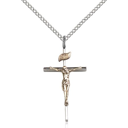 Two-Tone Sterling Silver & Gold-Filled Crucifix Pendant 1 x 1/2 inches with Sterling Silver Lite Curb Chain