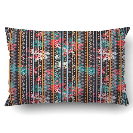 BOSDECO Ethnic boho Tribal art colorful texture Abstract distress watercolor Pillowcase Throw Pillow Cover Case 20x30 inches - image 1 of 2