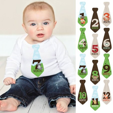 Woodland Creatures - Tie Baby Boy Monthly Stickers - Baby Shower Gift Ideas - Necktie 12 Piece