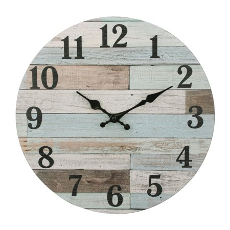 Stonebriar Vintage Coastal Worn Blue 14 Inch Round Hanging Wall Clock - Battery Operated (Geneva Round Clock)