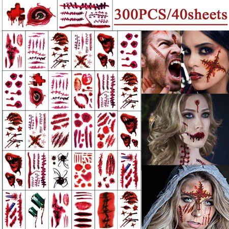 Halloween Face Tattoo Designs (AUCHEN Halloween Tattoos Temporary Cosplay Props, Makeup Face Tattoos Decorations for Halloween Costume Party Supplies (40)