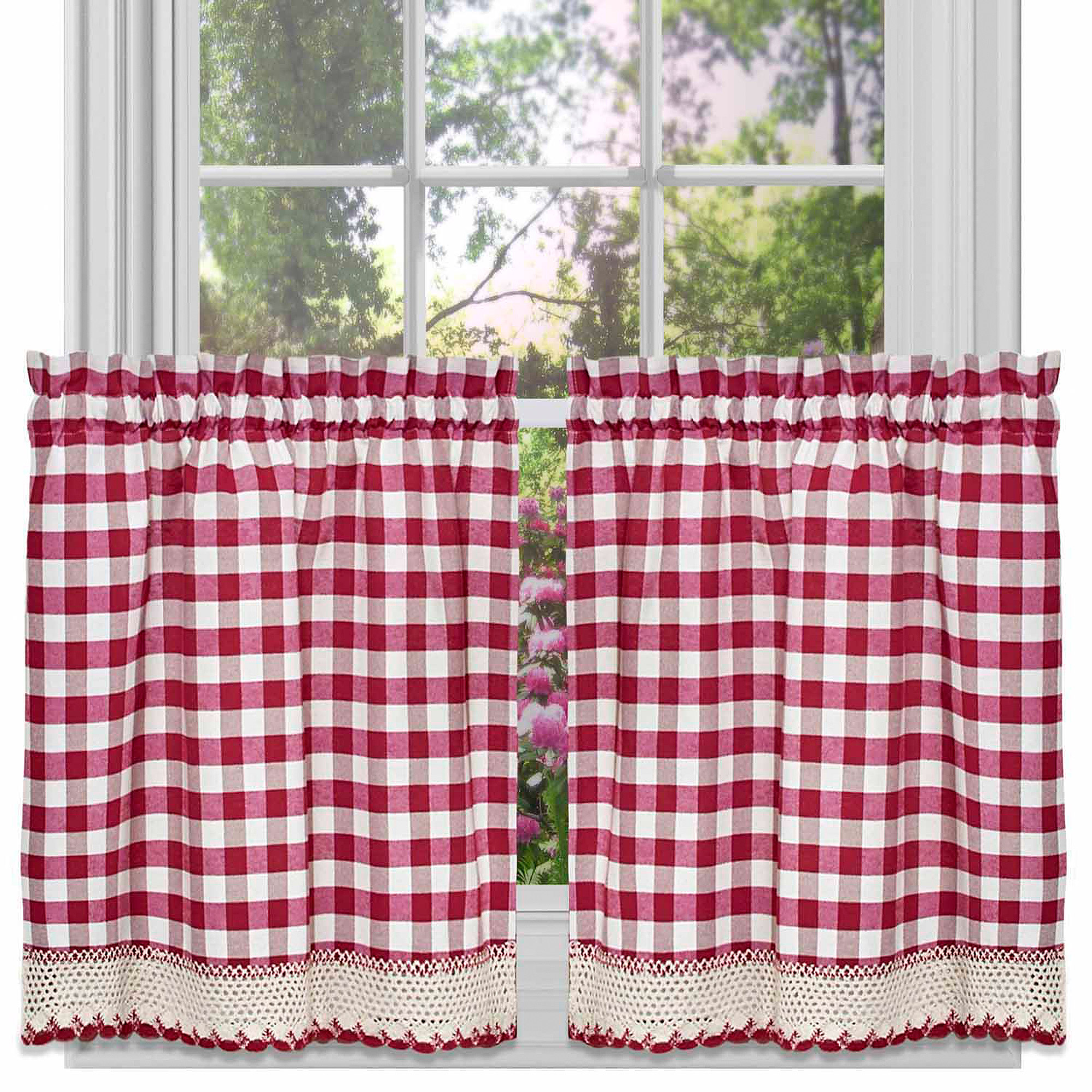 Buffalo Check Kitchen Curtains, Set of 2