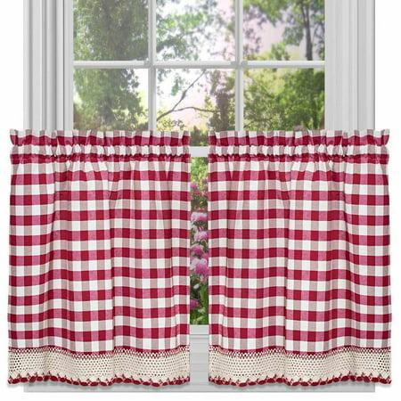 Buffalo Check Kitchen Curtains Set Of 2
