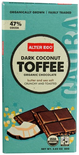 Alter Eco Organic Dark Chocolate 47% Cocoa Coconut Toffee 2.82 oz by Alter Eco