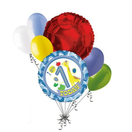 7 pc 1st Birthday Giraffe Happy Birthday Boy Balloon Bouquet Party Circus Zoo - Birthday Boy Party Ideas