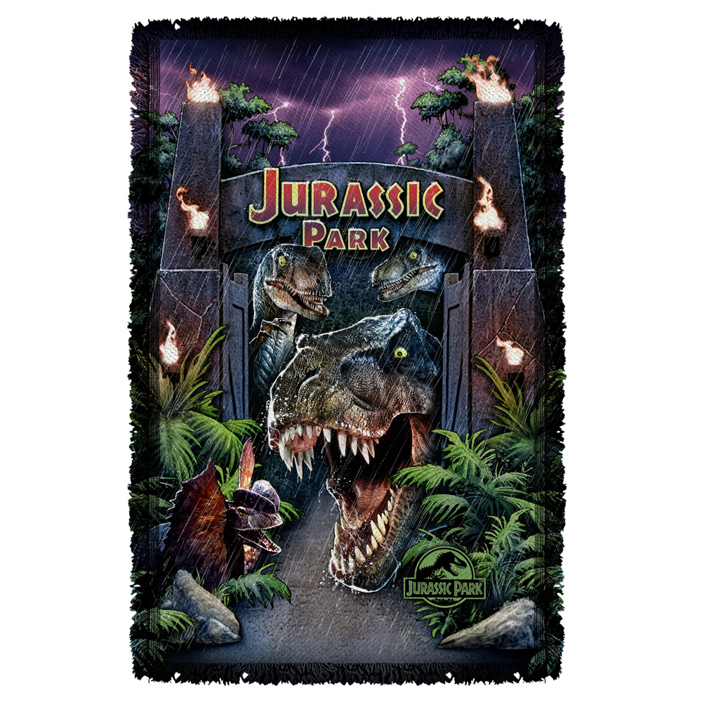 Jurassic Park Welcome To The Park Woven Throw White 48X80