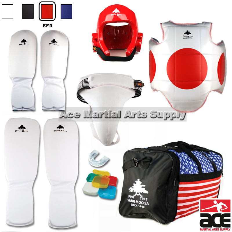 Pine Tree Complete Cloth Martial Arts Sparring Gear Set with Bag & Groin, Small White Headgear, Child Small Other Gears Male
