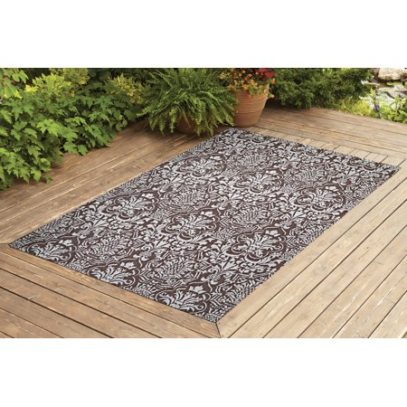 Benissimo Indoor / Outdoor Sisal Area Rug Flower G. Collection Non-Skid, Woven, Durable, and Easy Cleaning | Machine Rug for Living Room, Kitchen, Garage, Kids room etc. | 8x10 | Dark Brown ()
