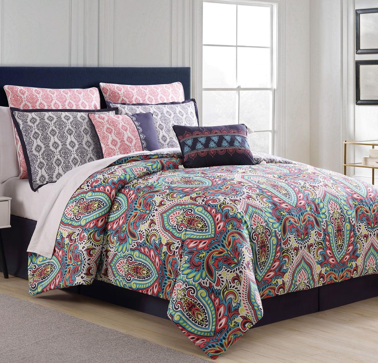 12 Piece Deja Navy/Multi Bed in a Bag Set Queen