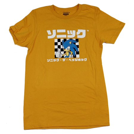 b5c4e1b08a66 Sonic the Hedgehog Mens T-Shirt - Kanji Style Sonic On Checker Flag (Large,  Large) - Walmart.com
