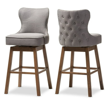 Baxton Studio Gradisca Upholstered Swivel Bar Stool - Set of 2