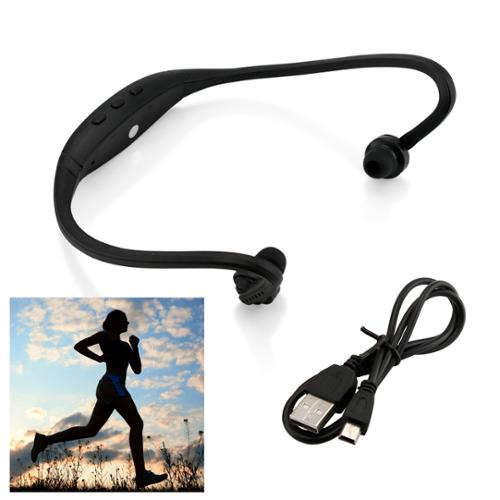 Sports Wireless Stereo Bluetooth Wrap Around Earphones Headset Headphone For Samsung iPhone Cellphone PC - Black