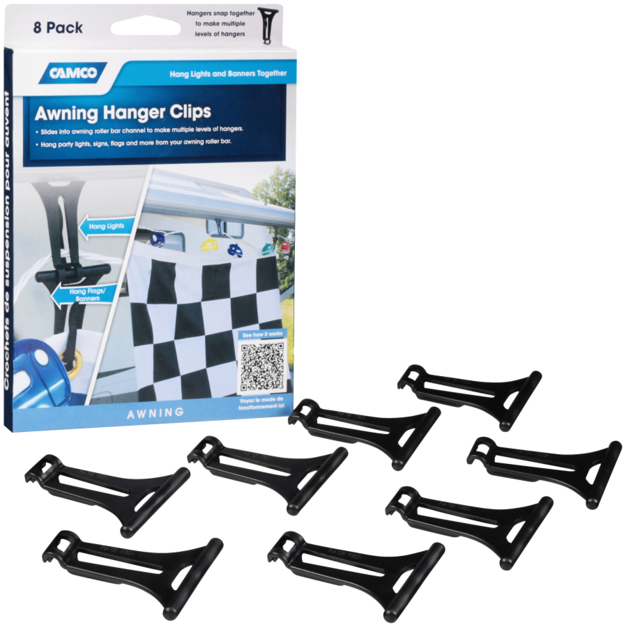Camco Awning Hanger Clips 8 ct Box