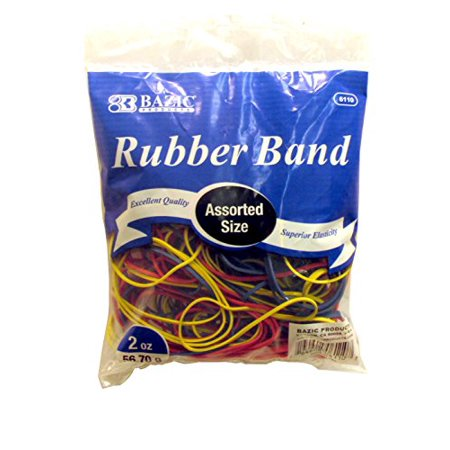 Assorted Rubber Bands (BAZIC Assorted Dimensions 56g/Approx 100 Rubber Bands, Multi Color)