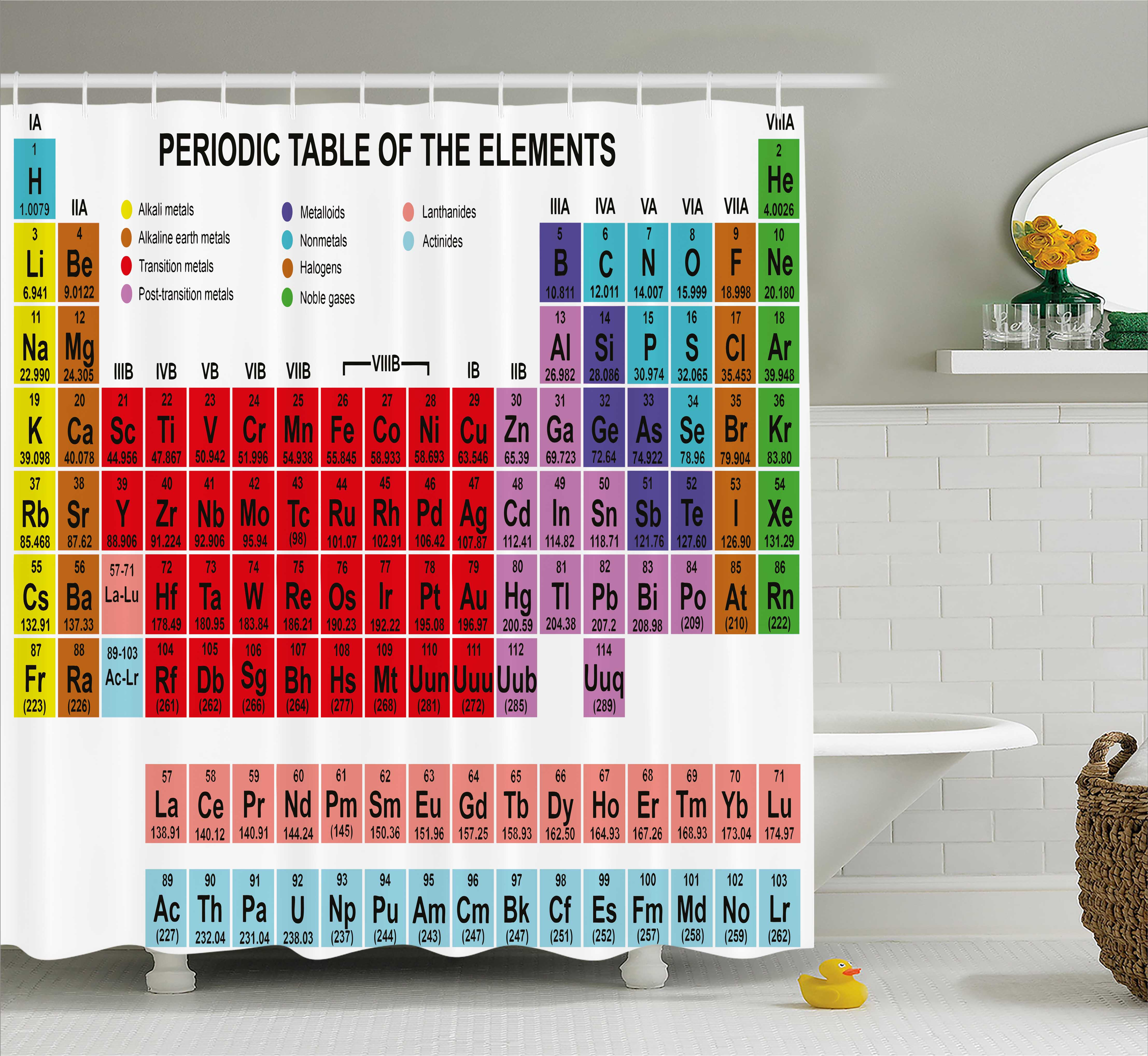 Periodic table shower curtain kids children educational science periodic table shower curtain kids children educational science chemistry for school students teachers art fabric bathroom set with hooks gamestrikefo Image collections