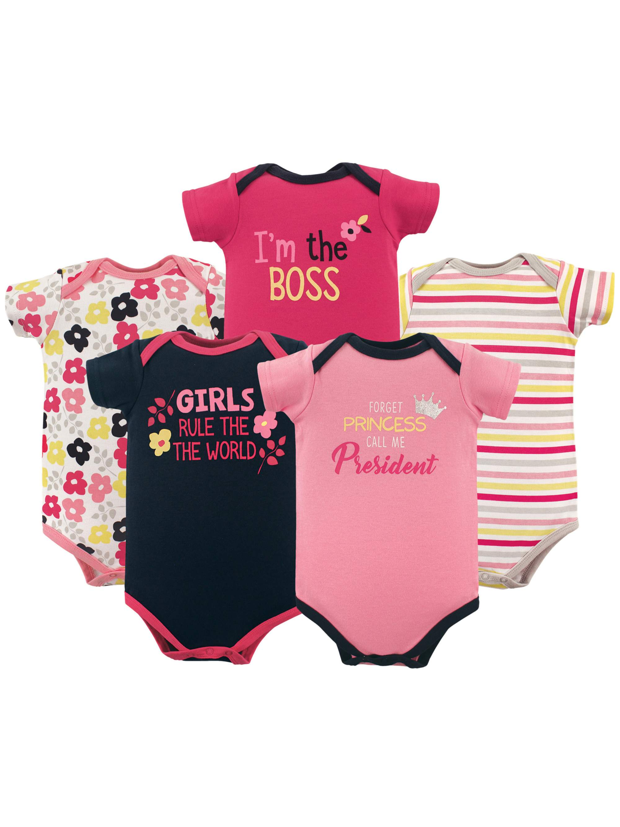 Basics Baby Girl Bodysuit Set, 5-pack