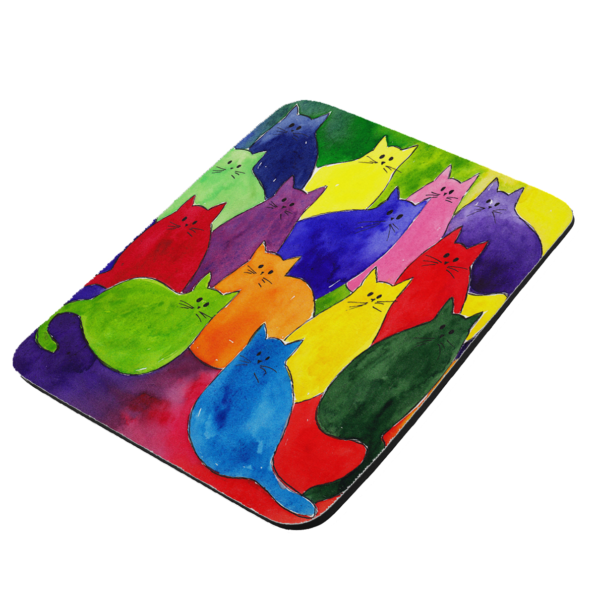Colorful Kitties in Crayon Colors Art by Denise Every - KuzmarK Mousepad / Hot Pad / Trivet