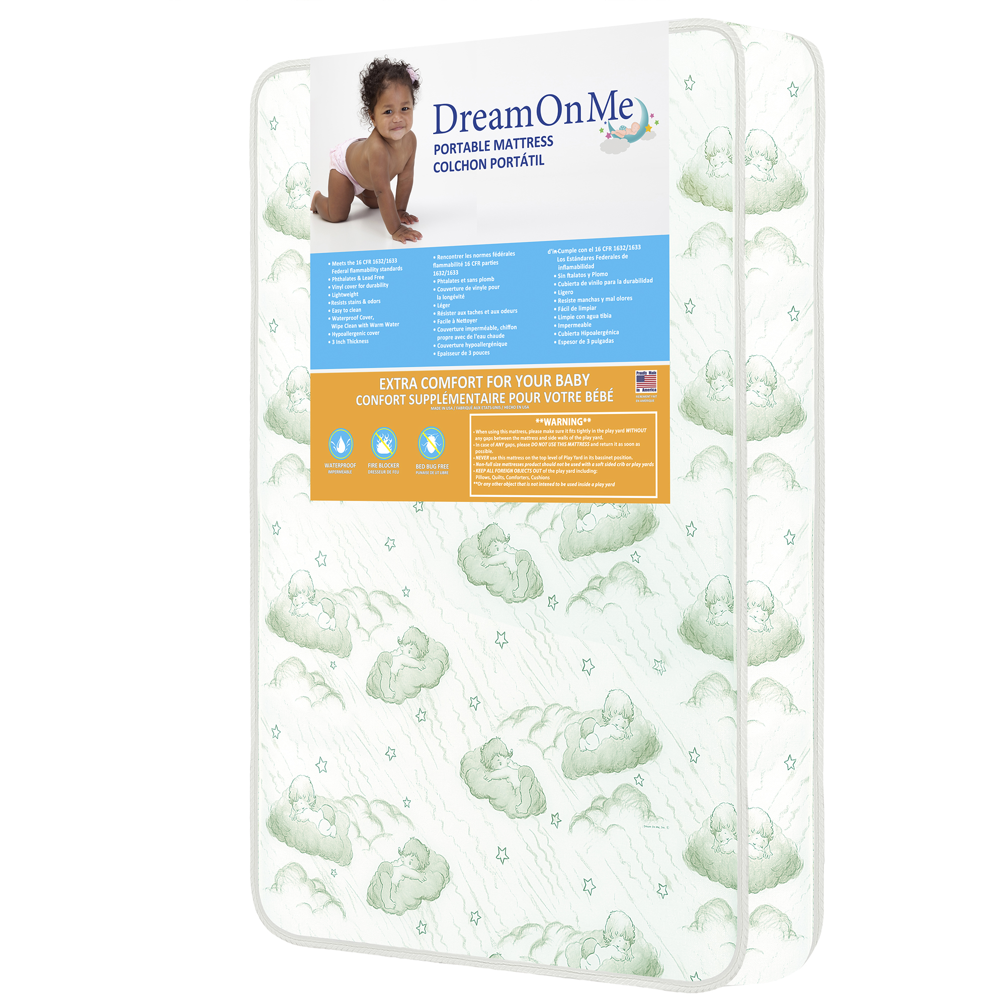 "Dream On Me Nursery Center 3"" Foam Mattress with Square Corner"