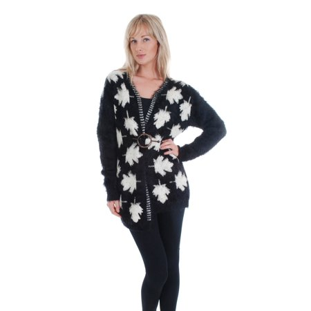 Cathaya Women's Black White Leaf Pattern Long Sleeve Cardigan Sweater