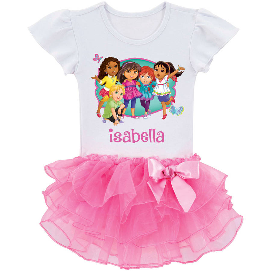 Personalized Dora and Friends All Together Tutu Toddler Girls' Tee