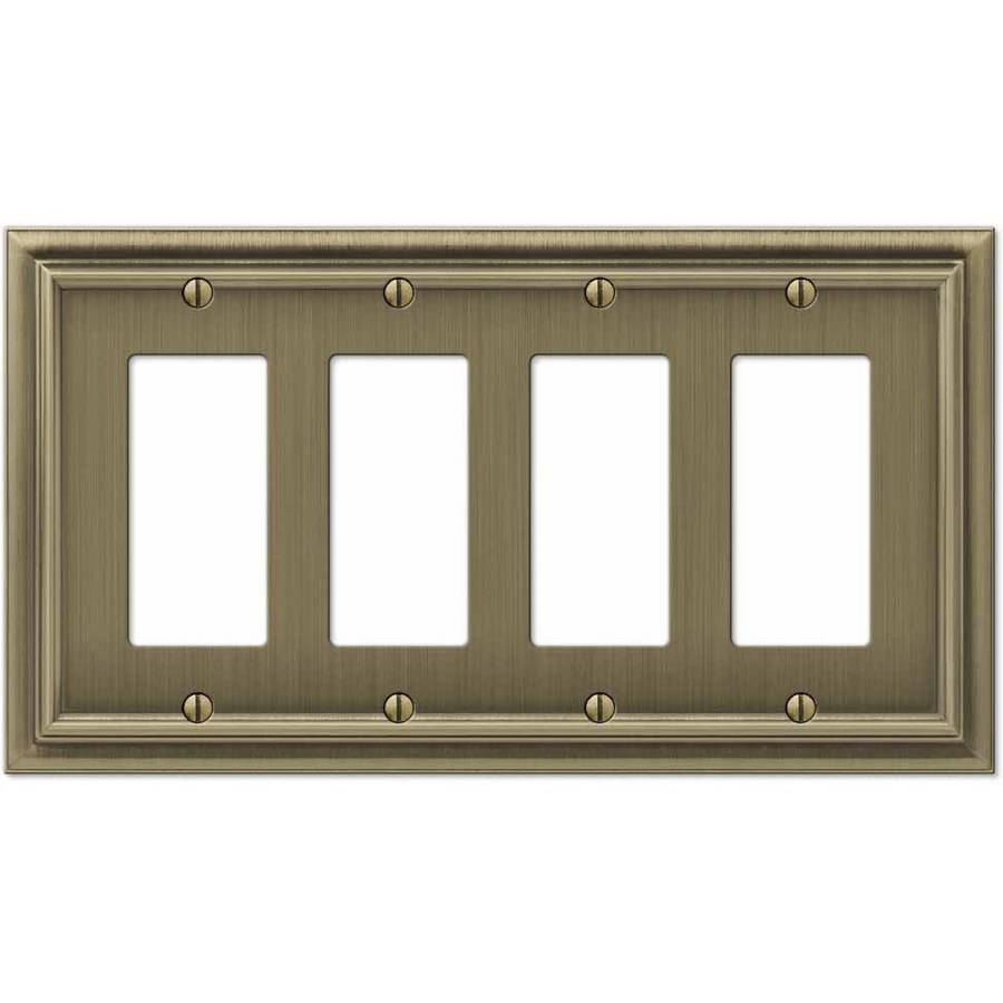 Continental Brushed Brass Cast Quad Rocker Wallplate