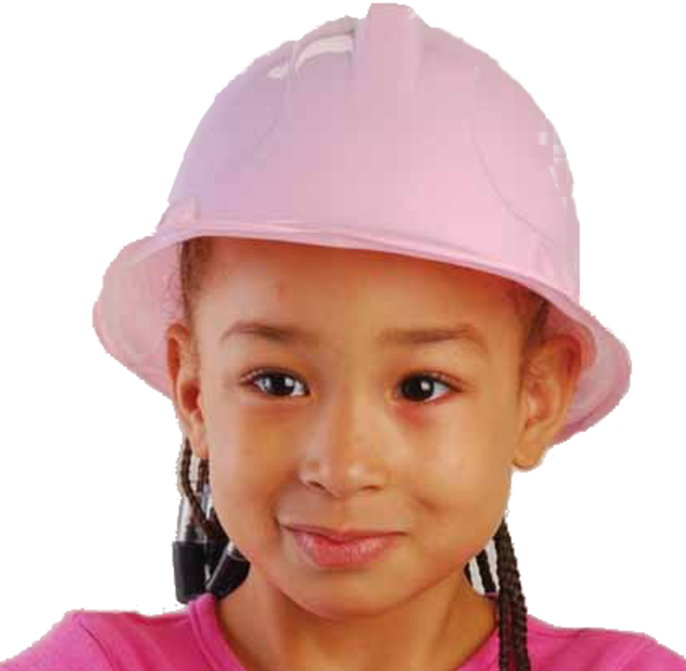 New Set Of 12 Kids Childs Girl's Pink Plastic Construction Costume Hard Hat