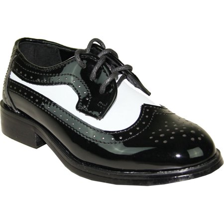 JEAN YVES Boy Dress Shoe JY03KID Wing Tip Two-Tone Tuxedo for Wedding, Prom and Formal Event