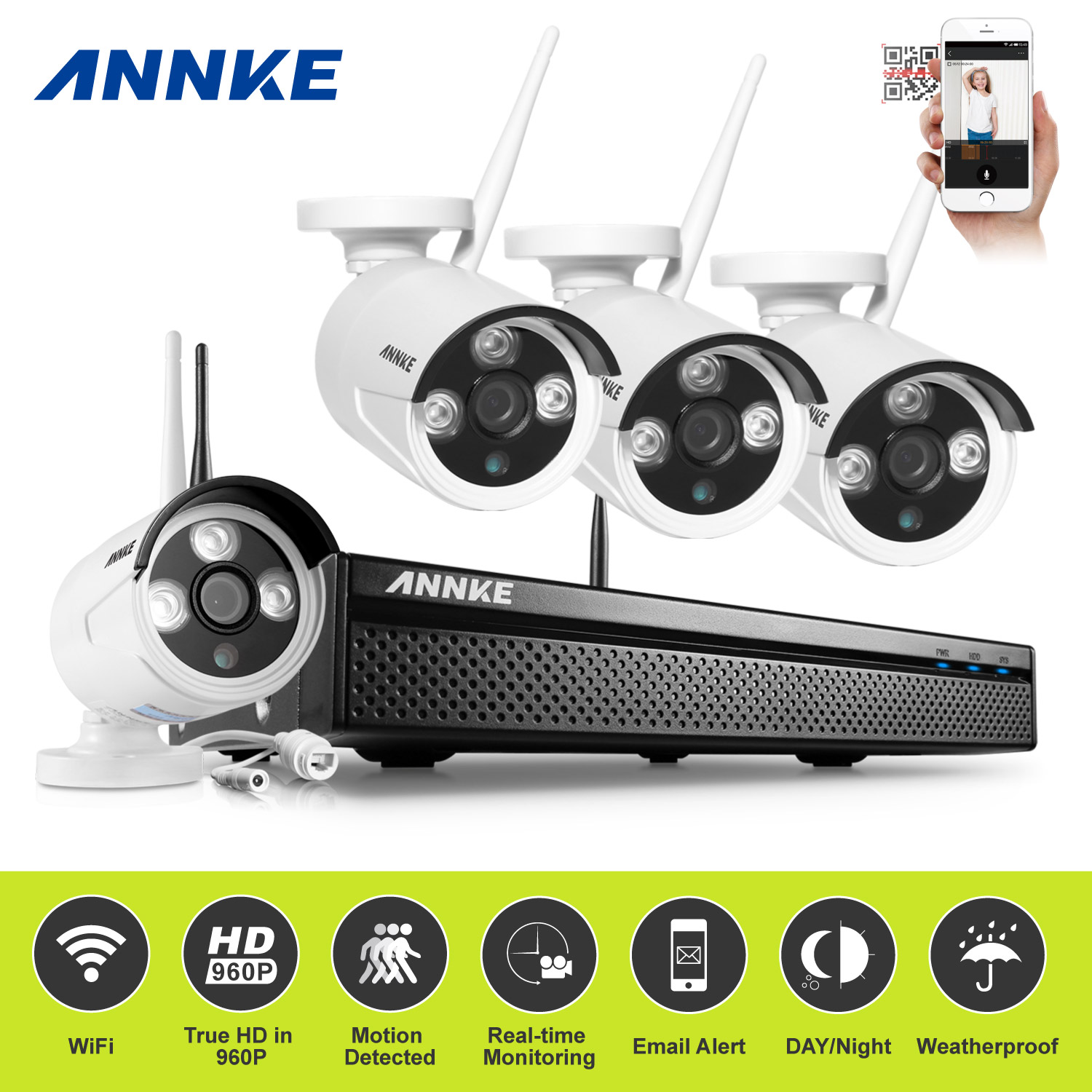 ANNKE 960P 4CH Wireless Surveillence System DVR 1.3MP Cameras Security Kit With Super Night Vision With No Hard Drive Disk