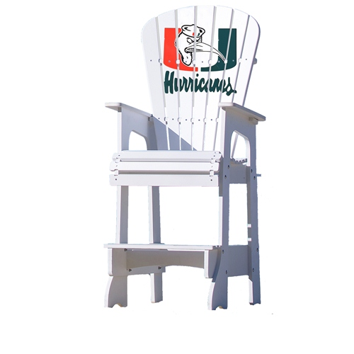NCAA Lifeguard Chair by Key Largo Adirondack - University of Miami, IBIS Logo