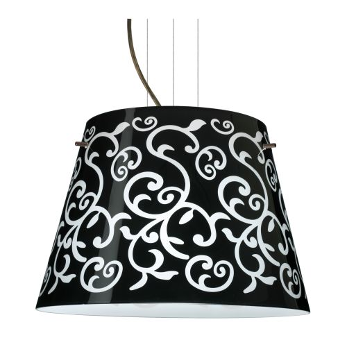 Besa Lighting 1KV-4394BD-LED Amelia 3 Light LED Cable-Hung Pendant with Black Damask Glass Shade