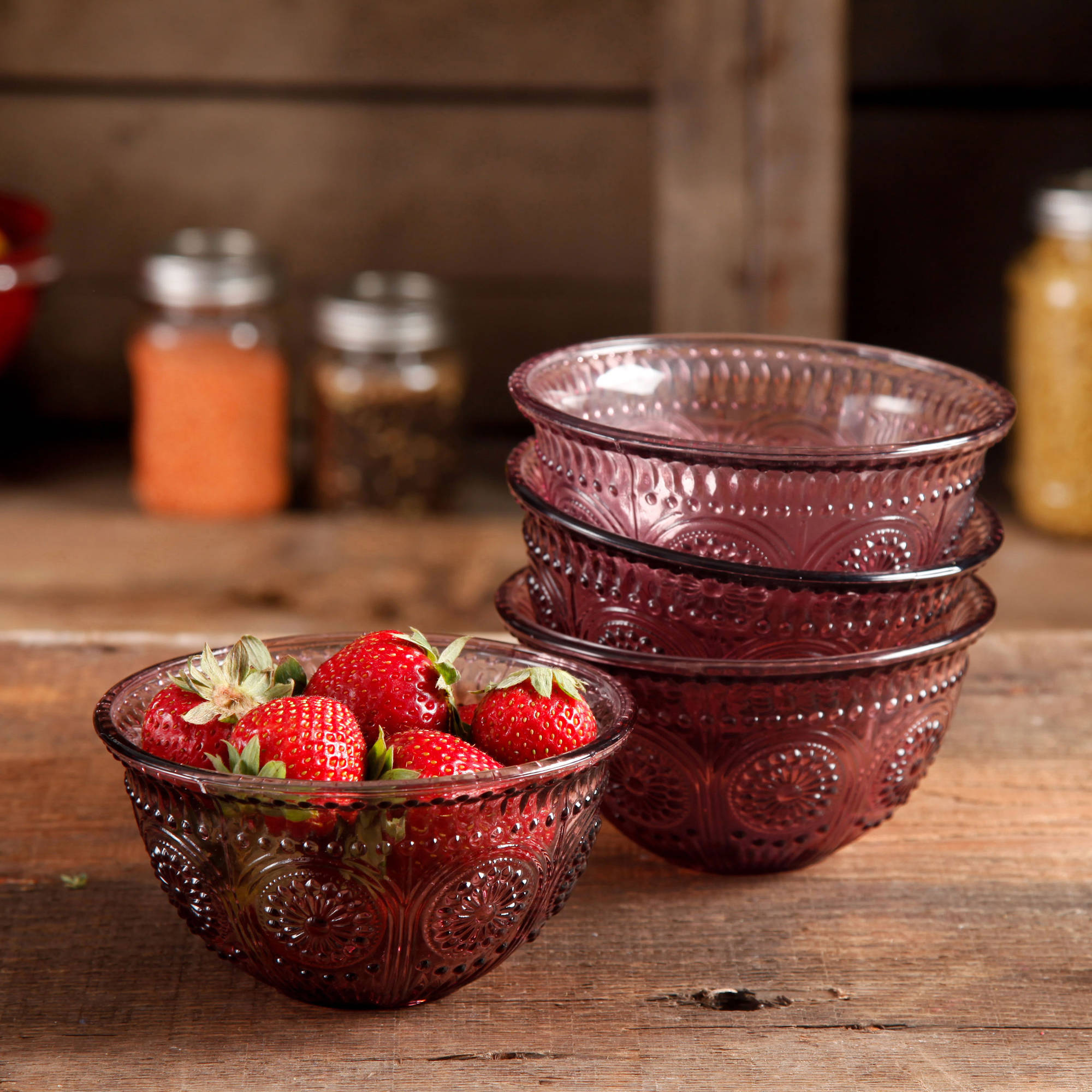 The Pioneer Woman Adeline 13 oz Emboss Glass Bowl, Set of 4