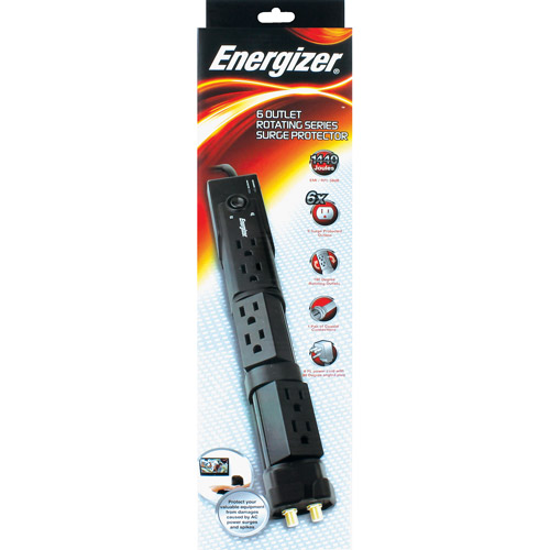 Energizer 6-Outlet Rotating Surge Protector, Black
