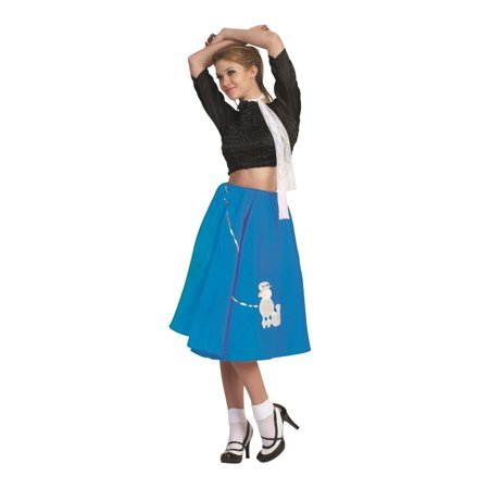 Blue Poodle Skirt 50's Scarf Sock Hop 1950's Retro Grease Sandra Dee Adult - 1950's Pin Up Halloween Costumes