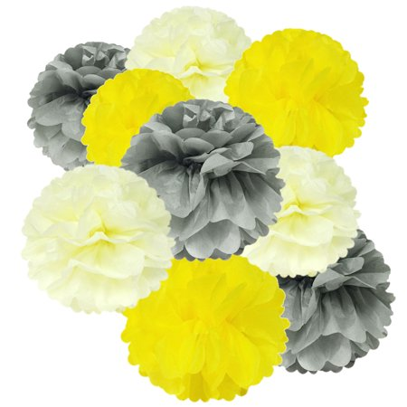 Wrapables® Set of 18 Tissue Pom Pom Party Decorations for Weddings, Birthday Parties Baby Showers and Nursery Decor, Gray/Yellow/Ivory (Baby Shower Decor)