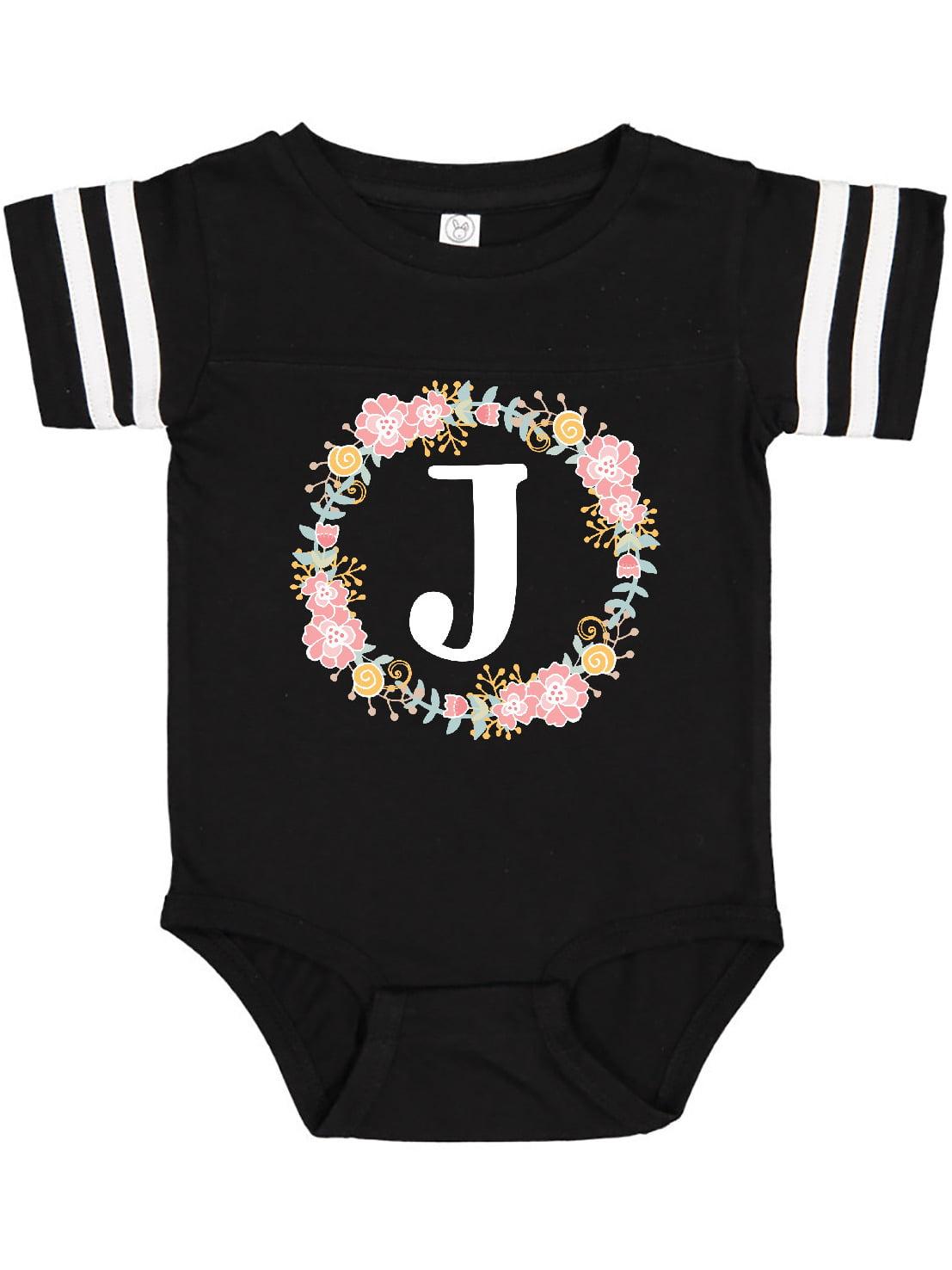 Inktastic C Monogram Alphabet Letter Rose Floral Wreath Infant Creeper Cute Name