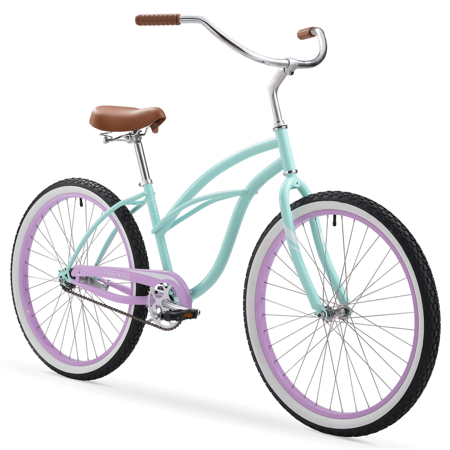 Firmstrong Special Edition Urban Lady Cruiser Bike, 26 Inches, Single-Speed, Seafoam with Purple