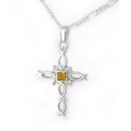 Sterling Silver Ichthus Fish Cross Birth Crystal Necklace, November Yellow ()