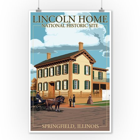 Lincoln Home National Historic Site   Springfield  Illinois   Lantern Press Poster  9X12 Art Print  Wall Decor Travel Poster