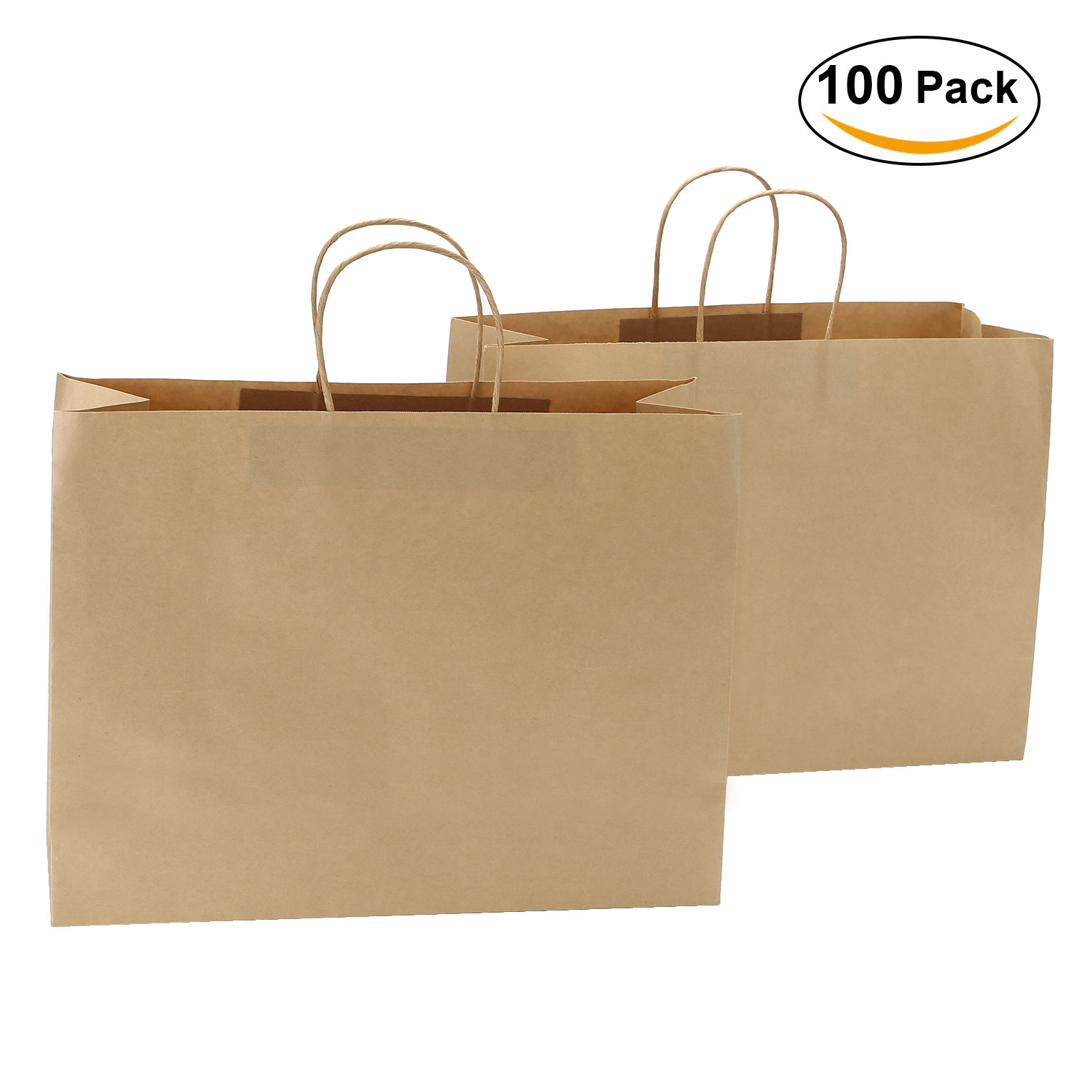 "TKOOFN 16.2"" x 6.1"" x 12"" Brown Kraft Paper Bags for Shopping Mechandise Party Gift ,100 Pcs"