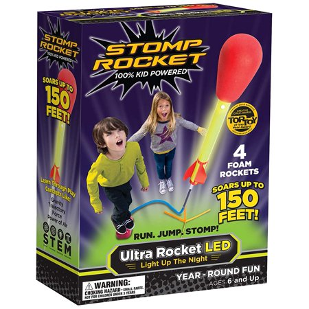 Ultra Rocket LED, 4 Rockets - Outdoor Rocket Toy Gift for Boys and Girls- Comes with Toy Rocket Launcher - Ages 6 Years and Up Stomp Rocket - Ultra LED - Air Rocket Toy